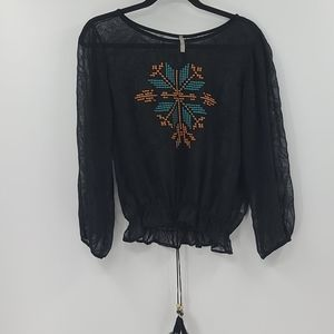 Mona B black sheer blouse with embroidery. Size m